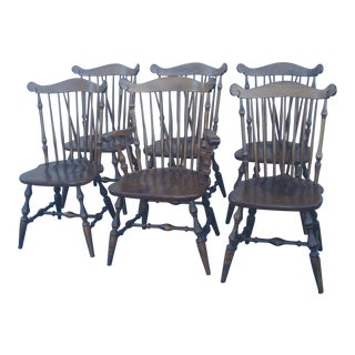 Early American Temple Stuart Windsor Chairs - Set of 6 For Sale