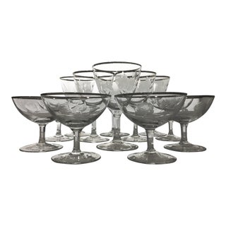 Mid-20th Century Etched Platinum Striped Crystal Glassware - Set of 12 For Sale