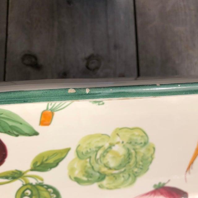 Green Italian Hand Painted Ceramic Vegetable Baking Dish/Serving Platter For Sale - Image 8 of 12