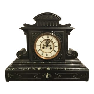 19th Century Antique French Black Slate and Marble Mantle Clock by L'Marti Cie For Sale