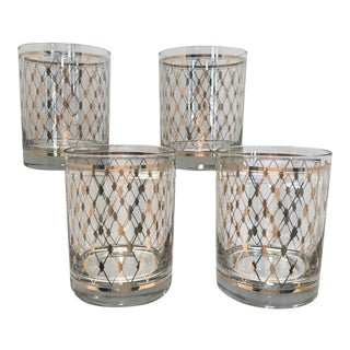 1970s Contemporary Gold Diamond Patterned Cocktail Bar Drinking Glasses - Set of 4