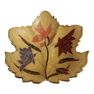 Mid Century Modern Brass and Hand Painted Enamel Leaf Dish For Sale