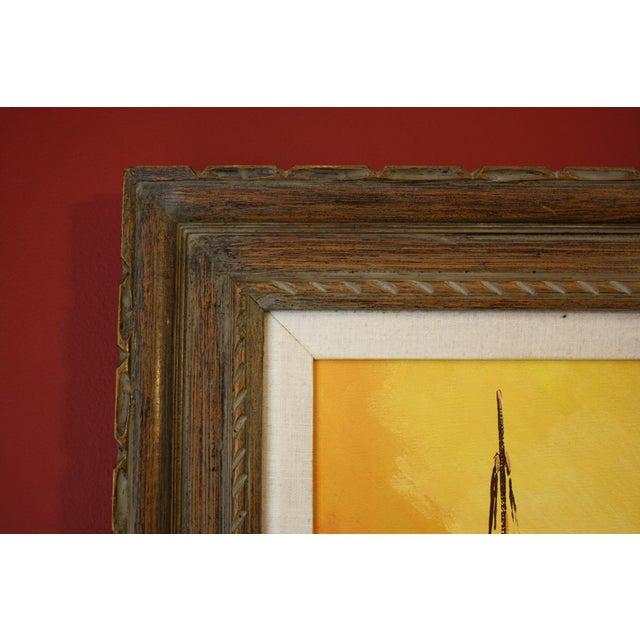 Orange 1970s Vintage Julio Carballosa Original Oil on Canvas Landscape Painting For Sale - Image 8 of 11