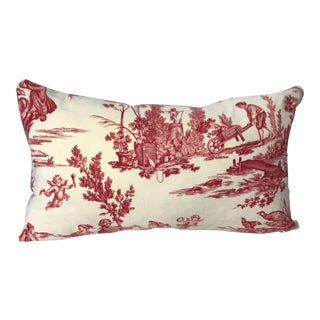 """""""The Delights of the Four Seasons"""" French Toile De Jouy Fabric Pillow Cover For Sale"""