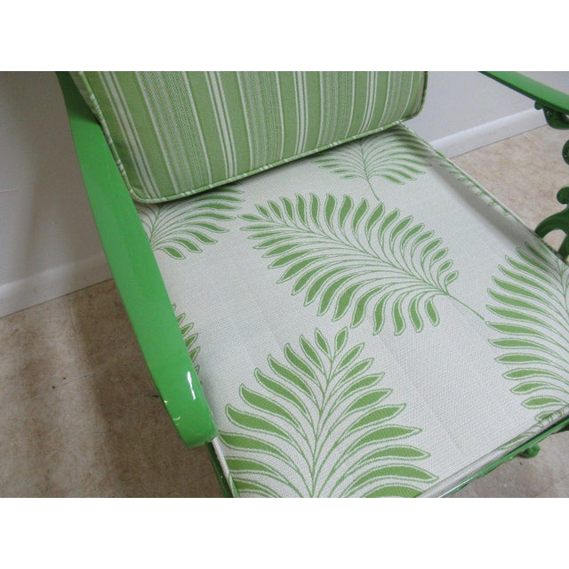 Vintage Green Aluminum Chippendale Ball & Claw Patio Chair For Sale - Image 9 of 11