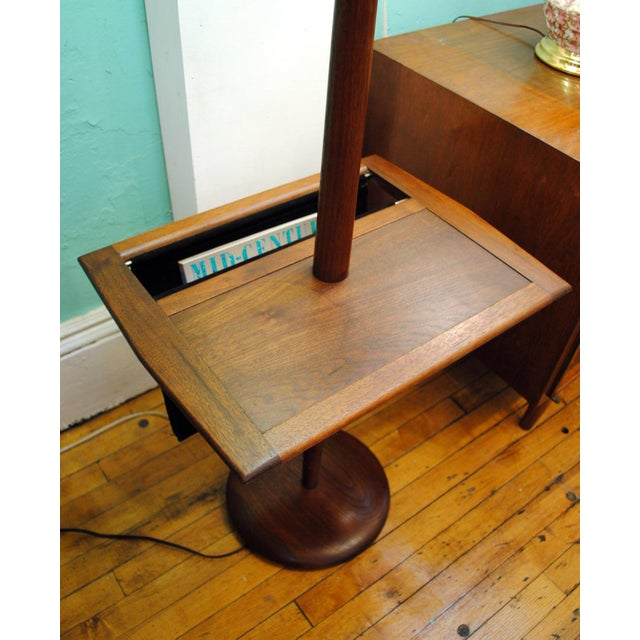 The Laurel 'Shaft Lamp'. Typically Sold With Just the Table — A Rare Find with the Suede Magazine Holder! The perfect...