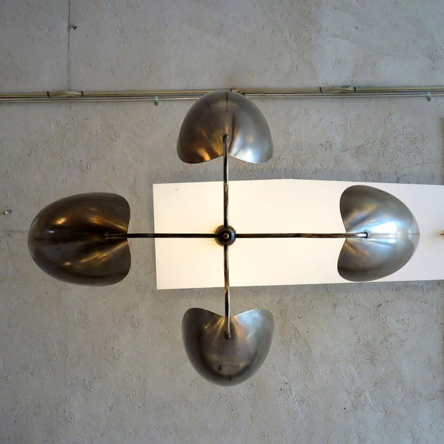 """Mid-Century Modern Four-Arm Raw Brass """"Chiton"""" Chandelier For Sale - Image 10 of 11"""