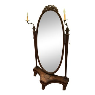Oak Full Length Mirror With Sconce For Sale