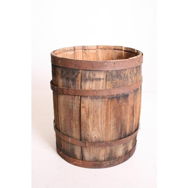 Vintage Rustic Banded Weathered Wood Nail Keg - Image 2 of 11