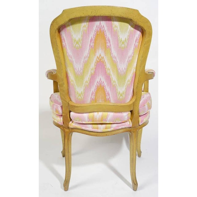 Pair of 1940s Louis XV Style Fauteuils in Colorful New Flamestitch Upholstery For Sale In Chicago - Image 6 of 8