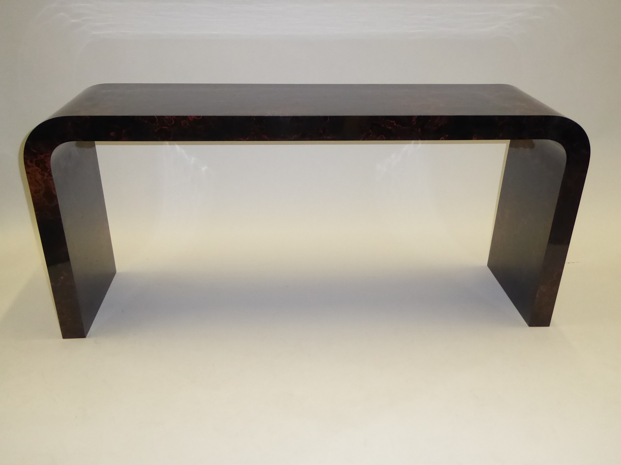 70s Modern Faux Tortoise Waterfall Console Karl Springer Style   Image 6 Of  11
