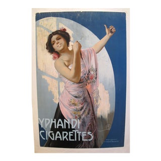1900/1920 Original Belgian Art Nouveau Poster, Yphandi Cigarettes For Sale