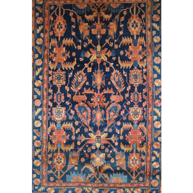 """Navy & Peach Antique Persian Rug - 4'4"""" x 6'8"""" - Image 3 of 6"""