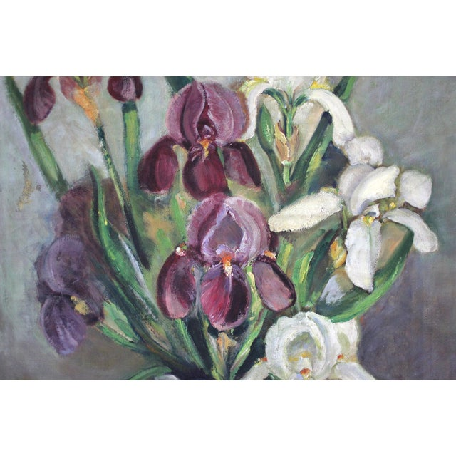 """Mid-Century original signed oil painting depicting irises. Framed in a vintage gold-painted wooden frame. Signed """"Jane..."""
