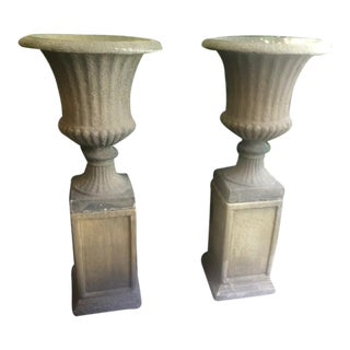 Antique Large Garden English Bath Stone Color Urns on Pedestals - A Pair For Sale