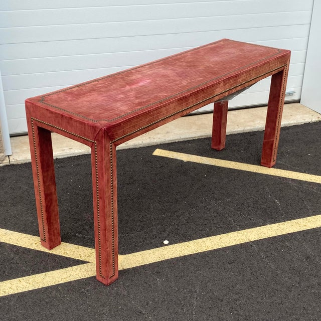 Metal 1970s Distressed Velvet Nailhead Parsons Console Table For Sale - Image 7 of 13