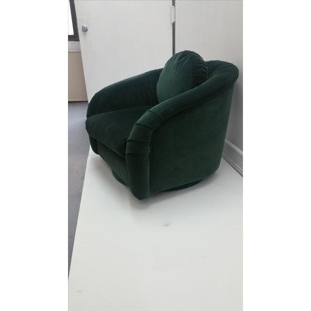 80's Rushed Velvet Swivel Chair - Image 4 of 6