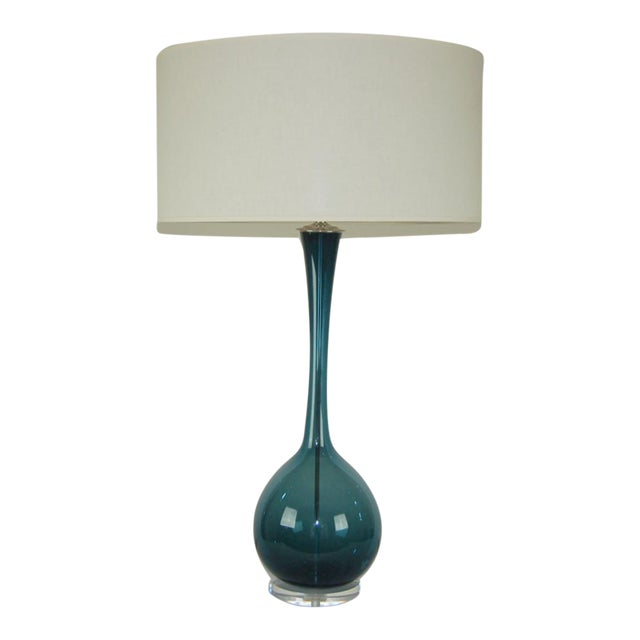 Marbro Arthur Percy Swedish Glass Table Lamp Teal Blue For Sale