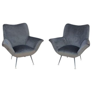 Pair of Italian Open-Arm Chairs For Sale