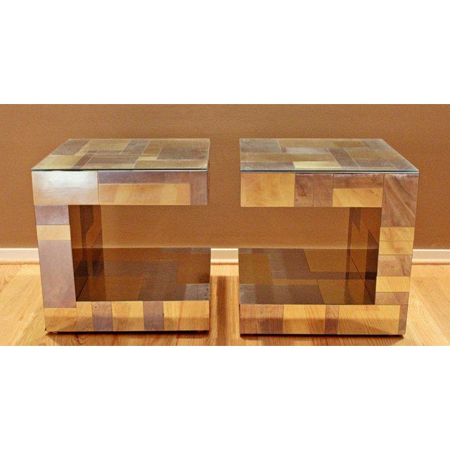 1970s Modern Pair of Paul Evans by Brass Chrome Cityscape Nightstands Side End Tables For Sale - Image 5 of 9