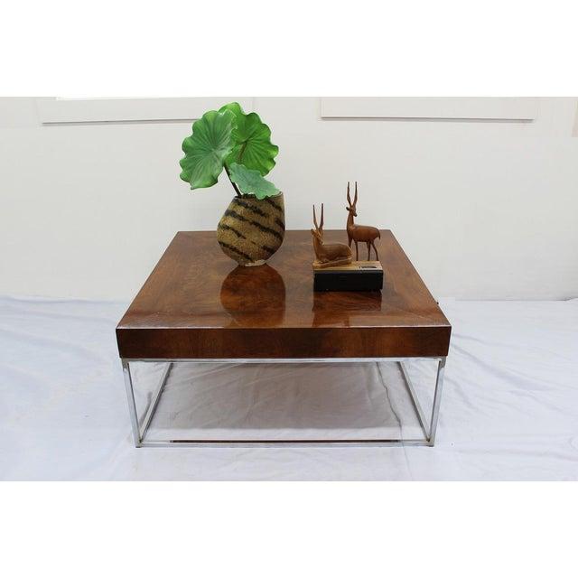Chrome Mid Century Modern Milo Baughman coffee table For Sale - Image 7 of 7