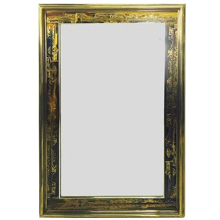 Acid-Etched Frame Beveled Mirror by Bernhard Rohne for Mastercraft For Sale