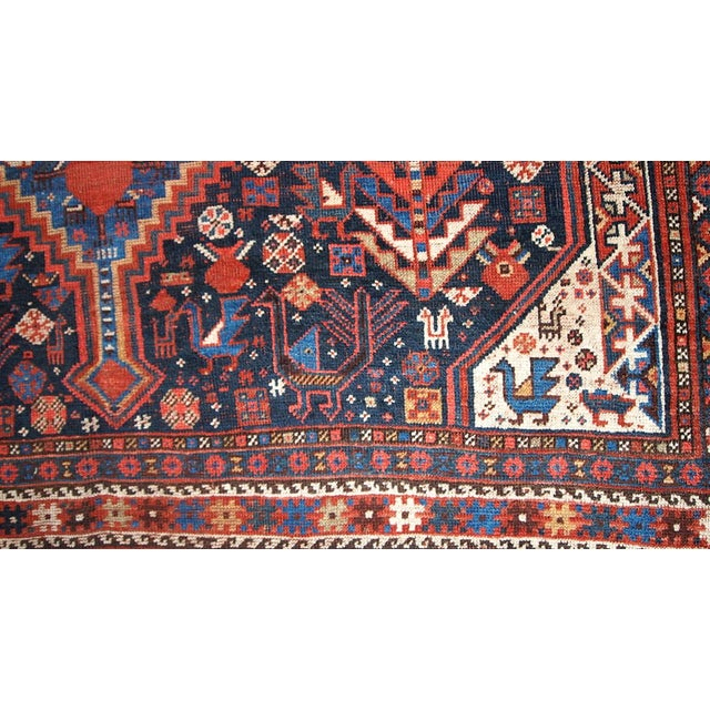 1880s Hand Made Antique Persian Khamseh Rug - 6' X 9' For Sale - Image 5 of 10