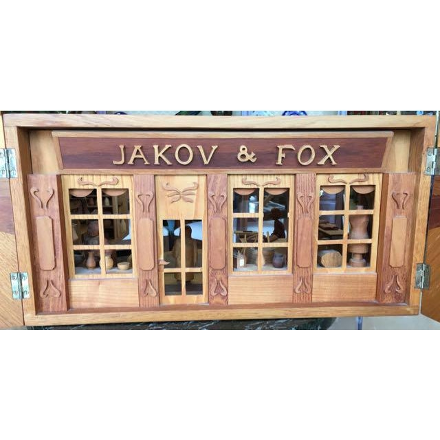 Hand Carved Wood With Marquetry General Store Model Diorama For Sale - Image 4 of 11