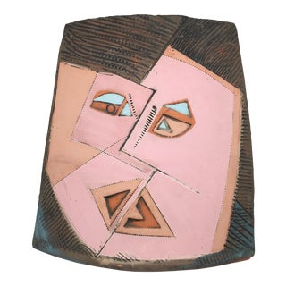 Cubist Faces Ceramic Vase 1986 For Sale