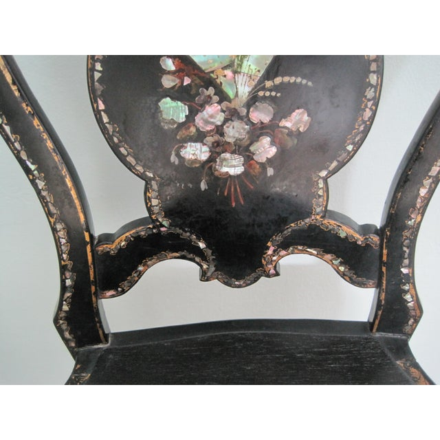 Mid 19th C. Victorian Mother of Pearl Inlay Papier Mache Chair For Sale - Image 6 of 11