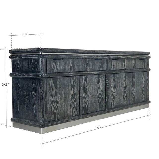 Cerused Ebony Oak Credenza by Jay Spectre For Sale - Image 9 of 11
