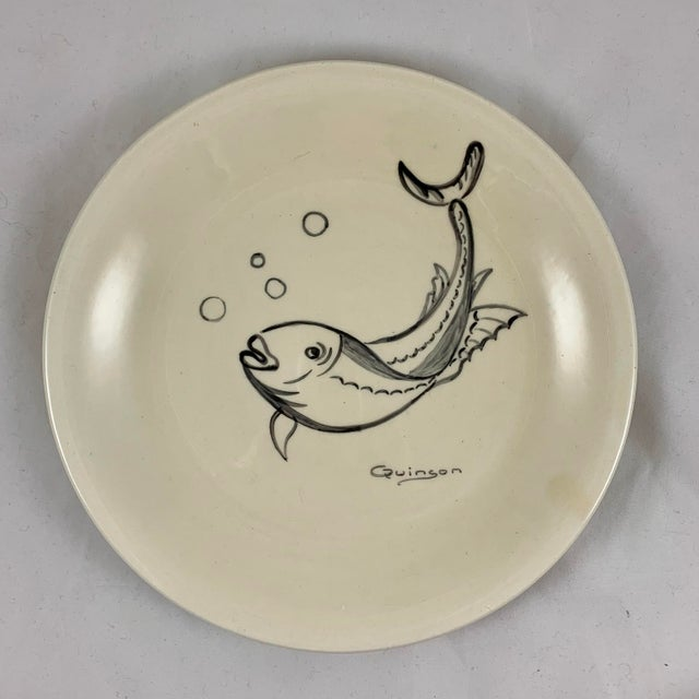 Cream Mid-Century French Hand-Painted Quinson Fish Plates - Set of 6 For Sale - Image 8 of 13
