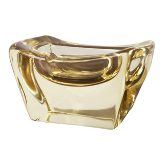 Yellow Crystal Ashtray by Daum, France