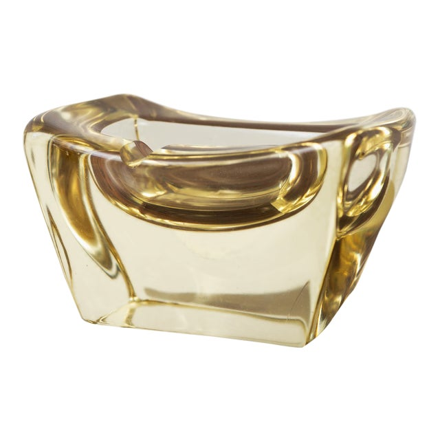 Yellow Crystal Ashtray by Daum, France For Sale