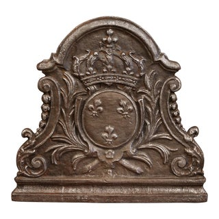 18th Century French Iron Fireback With Crown and Crest of Kingdom of France