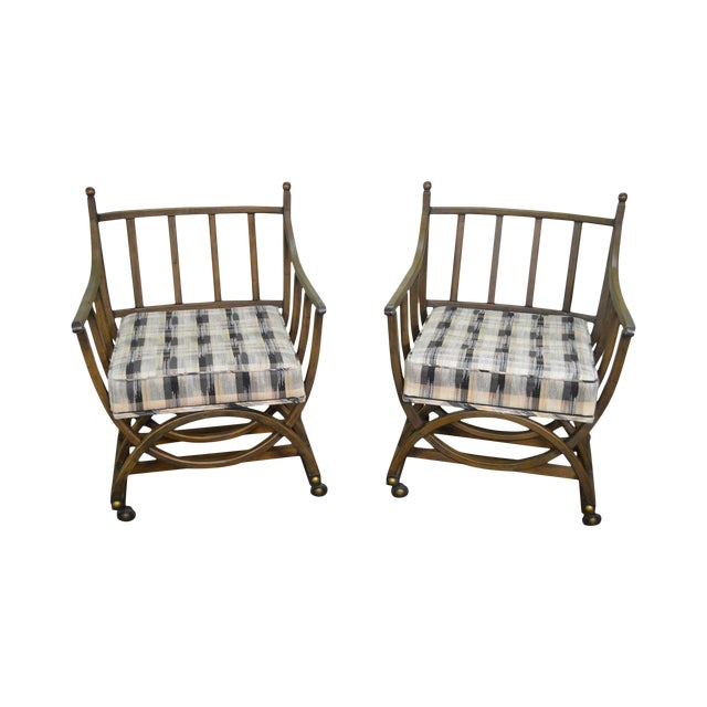 Custom Pair of Mid Century Modern U Shaped Southwest Influenced Bent Wood Lounge Chairs For Sale