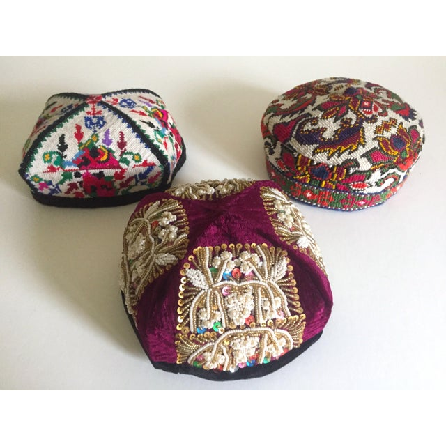 Vintage Rare Uzbek Afghani Turkmen Hand Embroidered Tribal Hats Collection  - 3pc
