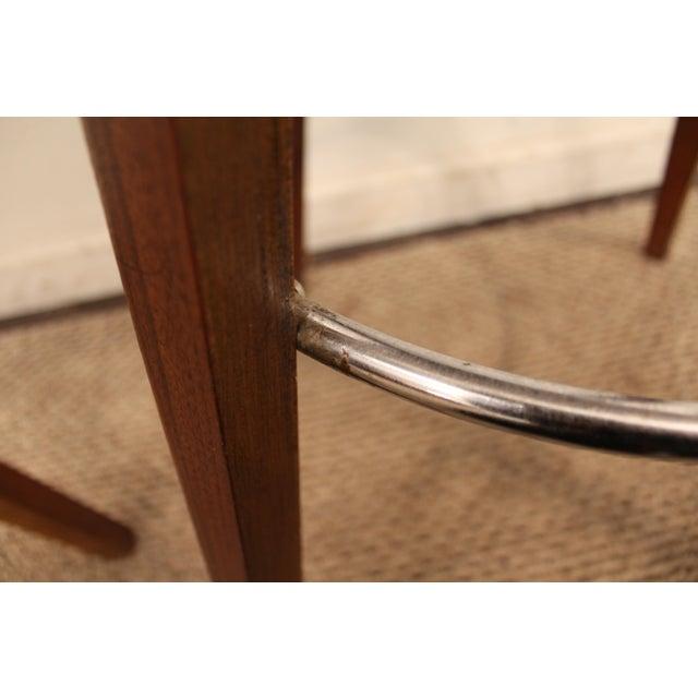 Mid-Century Chrome & Walnut Swivel Bar Stools - A Pair - Image 6 of 11