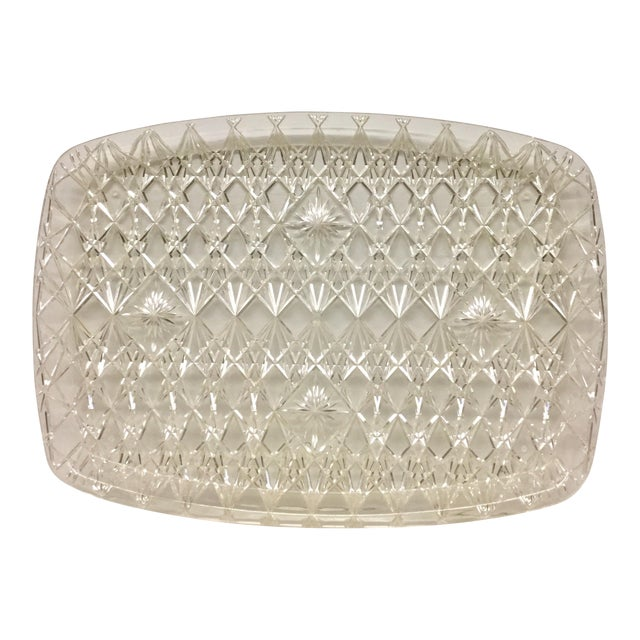 Large Vintage Clear Carved Lucite Serving Tray For Sale