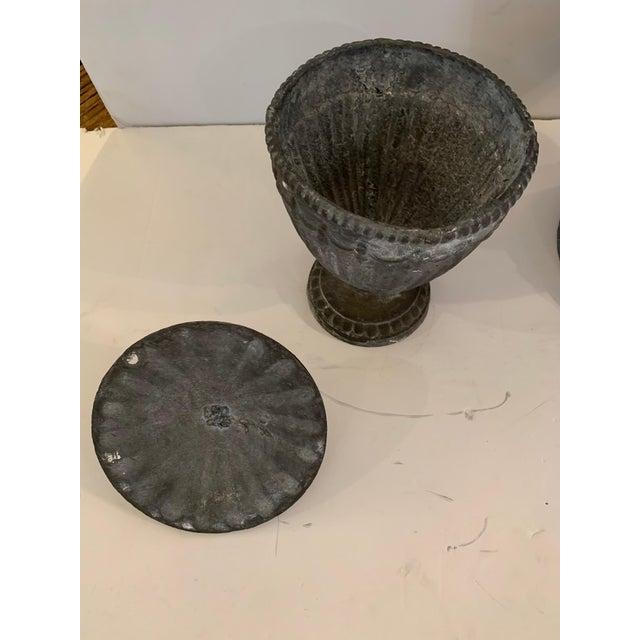 Regency Style Lidded Cast Iron Garden Urns Planters For Sale In Philadelphia - Image 6 of 13