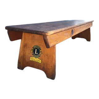 1930s Antique Lions Club Low-Seated Oak Bench For Sale