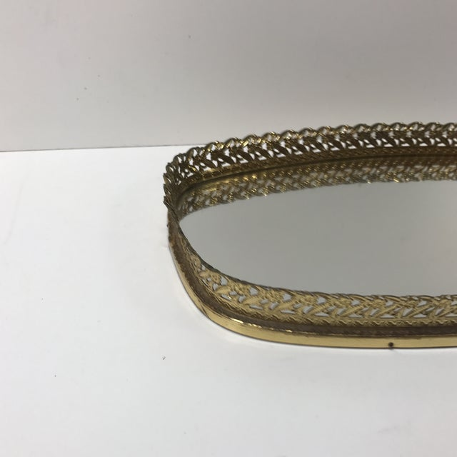 Vintage French Filigree Medium Oval Vanity Tray with Mirror Polished brass floral pierced tray edge with oval mirror...