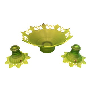 Vintage Westmoreland Lime Green Centerplace Bowl and Candlestick Set - 3 Pieces For Sale
