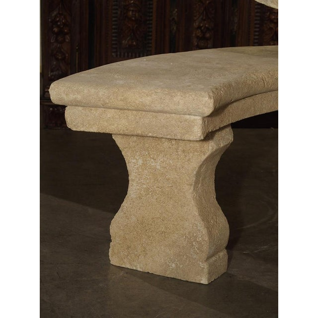 Small Carved Limestone Garden Bench from Provence, France For Sale - Image 4 of 9