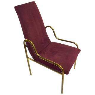 High Back Brass and Suede Armchair by Mastercraft For Sale
