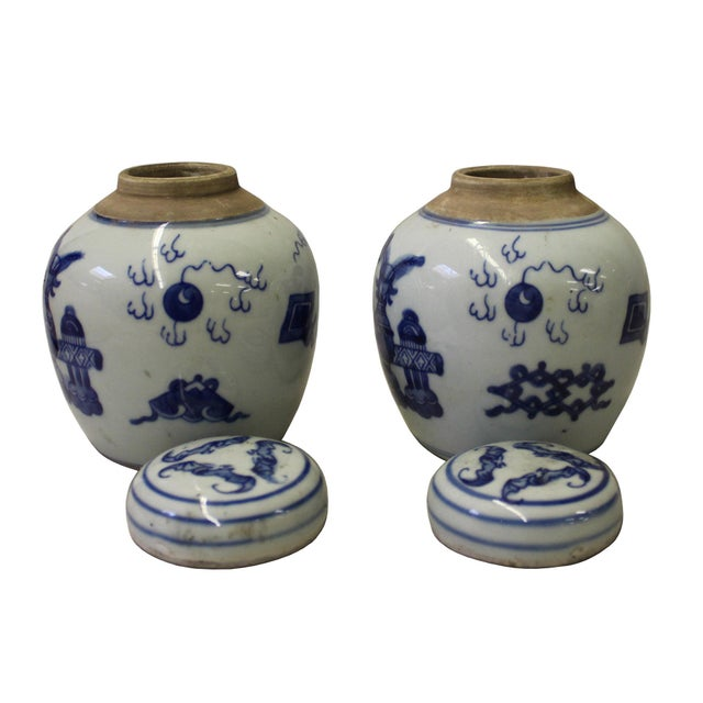 Pair Blue White Small Oriental Graphic Porcelain Ginger Jars - Image 4 of 6
