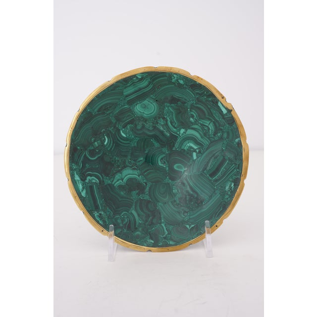 Vintage Round Malachite Dish With Scalloped Brass Rim For Sale - Image 9 of 9