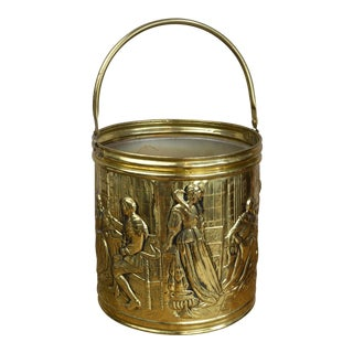 Elizabethan Style Antique English Brass Coal Bucket For Sale