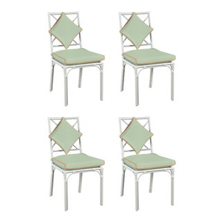 Haven Outdoor Dining Chair, Canvas Mint with Canvas Tuscany Welt, Set of Four For Sale