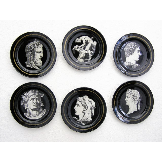 Fornasetti Style Neoclassical Black Glass Wall Plates - Set of 6 Mid-Century Modern MCM - Image 2 of 11